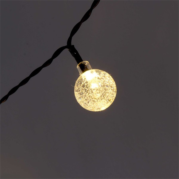 Buborékgömb alakú 23mm/8 programos/6,5m/IPX3 szabványos/meleg fehér/30db LED-es/napelemes fénydekoráció - 1