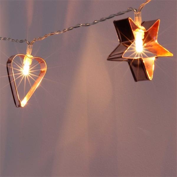 Csillag+szív alakú fém/2m/meleg fehér/10db LED-es/3xAA elemes fénydekoráció - 1