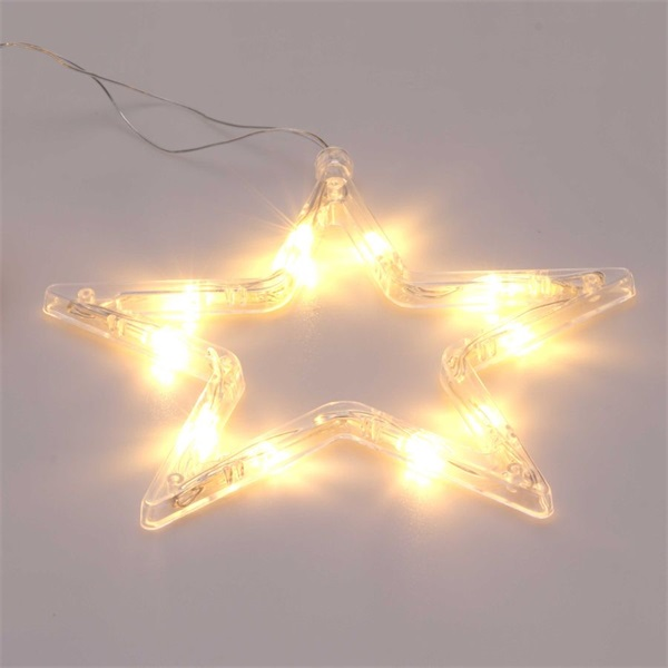 Csillag alakú 18x18cm/meleg fehér LED-es tapadókorongos fénydekoráció - 1