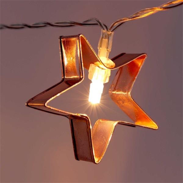 Csillag alakú fém/4m/meleg fehér/20db LED-es/3xAA elemes fénydekoráció - 1