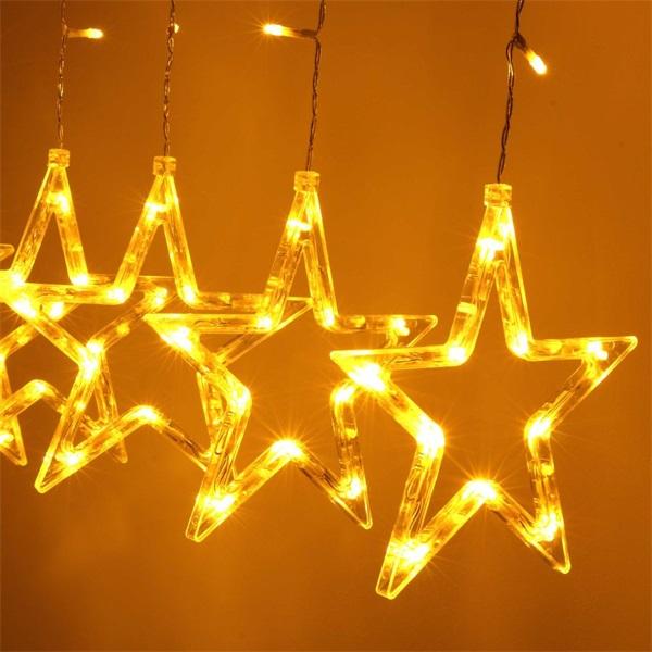 Csillag alakú fix fényű/2,5m/távirányítós/meleg fehér/12db LED-es USB-s fénydekoráció - 1
