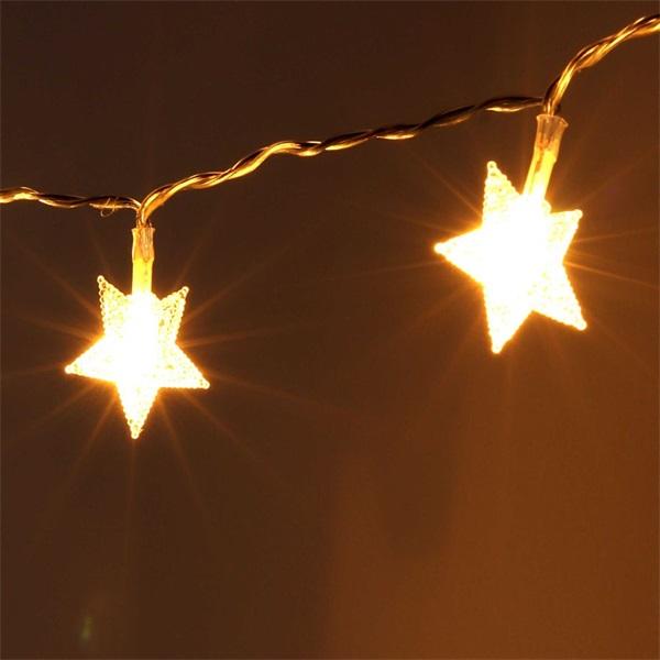 Csillag alakú fix fényű/3m/meleg fehér/20db LED-es/3xAA elemes fénydekoráció - 1