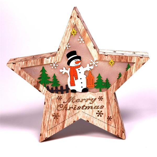 Csillag alakú hóember mintás/30x30cm/meleg fehér LED-es fa fénydekoráció - 1