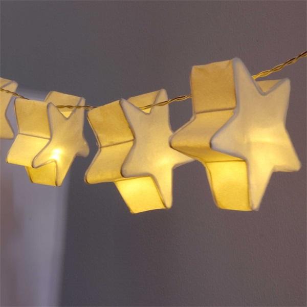 Csillag alakú papír 160cm/meleg fehér/10db LED-es/2xAA elemes fénydekoráció - 1