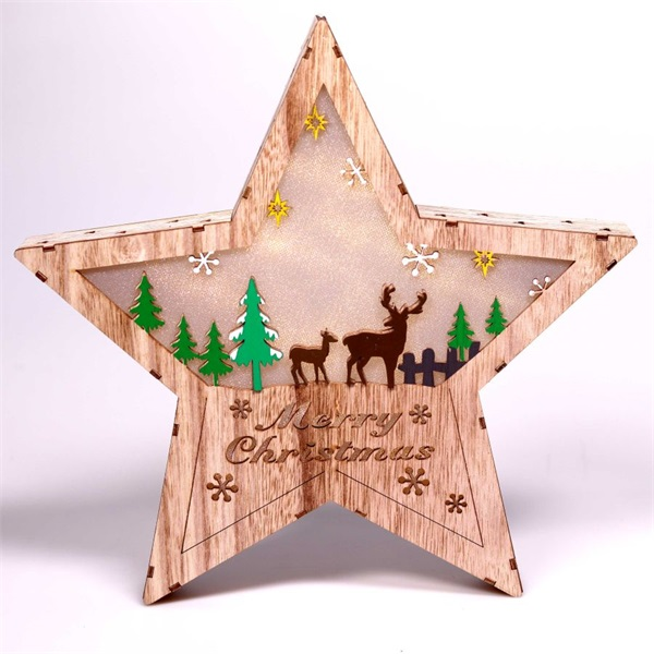 Csillag alakú rénszarvas mintás/30x30cm/meleg fehér LED-es fa fénydekoráció - 1