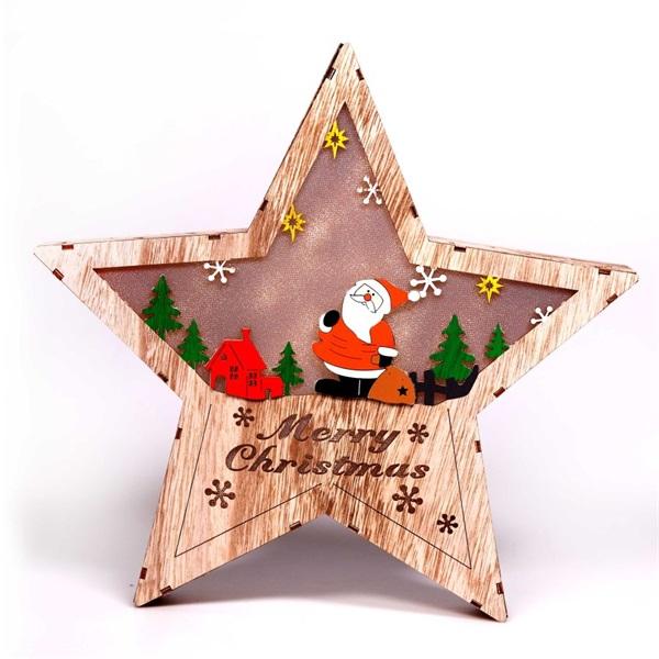 Csillag alakú Télapó mintás/30x30cm/meleg fehér LED-es fa fénydekoráció - 1