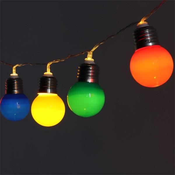 E27 izzó alakú 3m/IPX3 szabványos/piros, zöld, kék, sárga/20db LED-es/3xAA elemes fénydekoráció - 1
