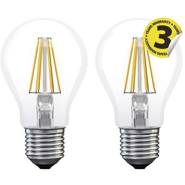 Emos Z74260.2 FILAMENT A60 A++ 6W E27 806 lumen meleg fehér LED izzó 2db/csomag - 1