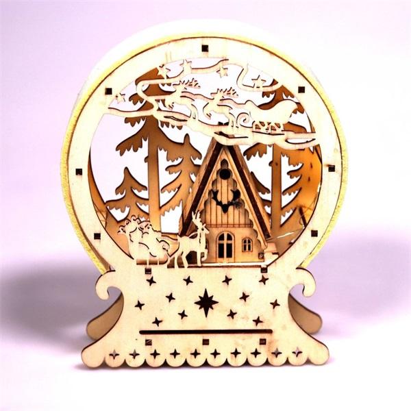 Félkör keretes karácsonyi ház 15x18x4,5cm/meleg fehér LED-es fa fénydekoráció - 1