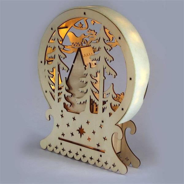 Félkör keretes karácsonyi ház 23x28,5cm/meleg fehér LED-es fa fénydekoráció - 1