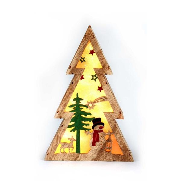 Fenyőfa alakú hóember mintás/20x29,5x4,5cm/meleg fehér LED-es fa fénydekoráció - 1