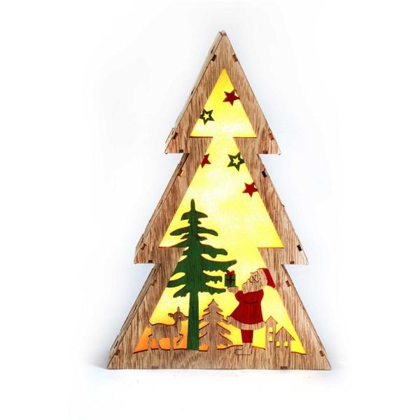 Fenyőfa alakú Télapó mintás/20x29,5x4,5cm/meleg fehér LED-es fa fénydekoráció - 1