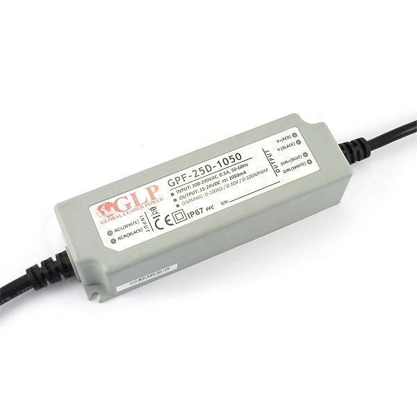 GLP GPF-25D-1050 25.2W 15~24V 1050mA IP67 LED tápegység - 1