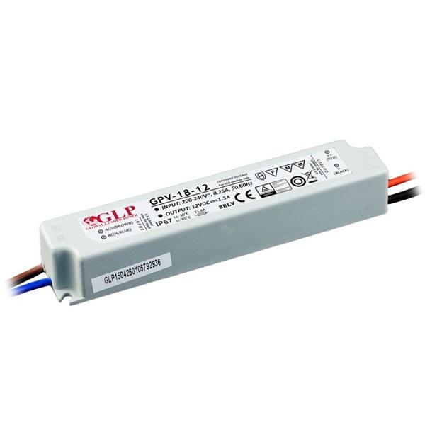 GLP GPV-18-12 18W 12V 1.5A IP67 LED tápegység - 1