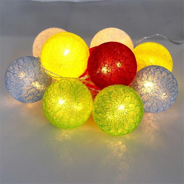 Gömb alakú 6cm/színes fonott/1,5m/több színű/10db LED-es/USB-s fénydekoráció - 1