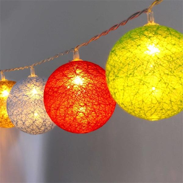 Gömb alakú 6cm/színes fonott/3m/barna-piros-kék-zöld/20db LED-es/USB-s fénydekoráció - 1