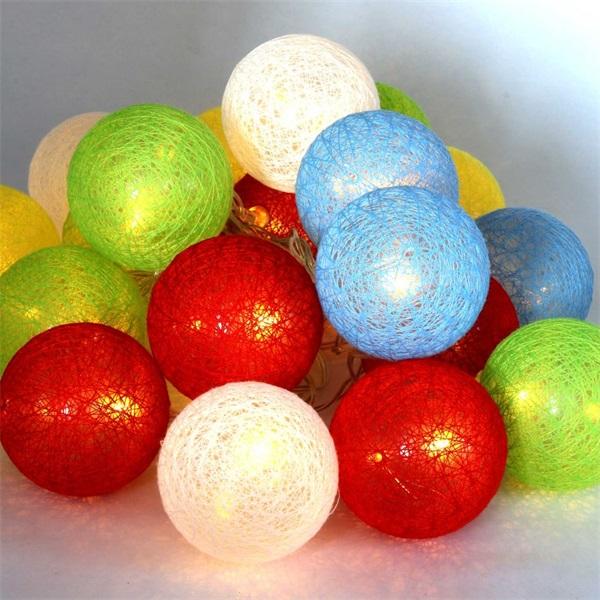 Gömb alakú 6cm/színes fonott/3m/több színű/20db LED-es/USB-s fénydekoráció - 1