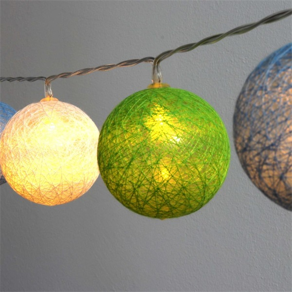 Gömb alakú 6cm/színes fonott/3m/zöld-kék-fehér/20db LED-es/USB-s fénydekoráció - 1