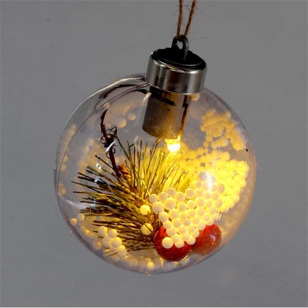 Gömb alakú /E/ 8cm meleg fehér műanyag-akril LED-es fénydekoráció - 1