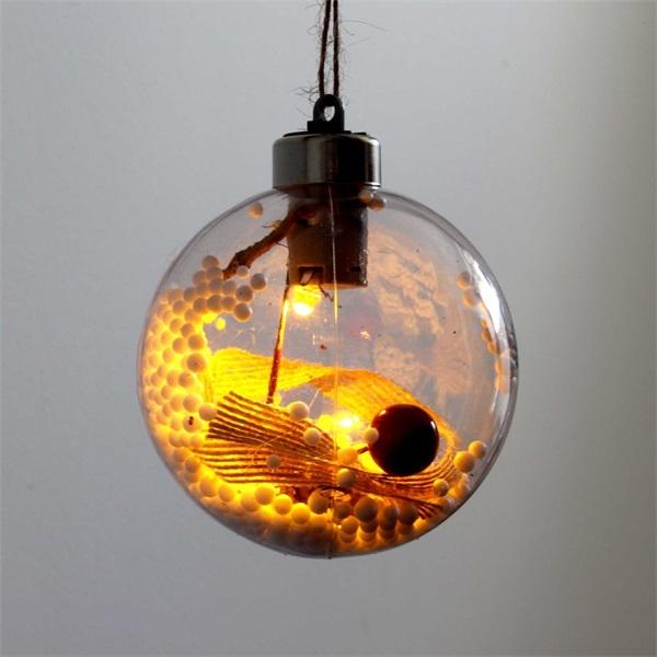 Gömb alakú /G/ 8cm meleg fehér műanyag-akril LED-es fénydekoráció - 1