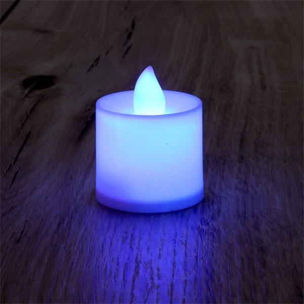 Gyertya alakú fix fényű LED-es lila fénydekoráció 4db/csomag - 1