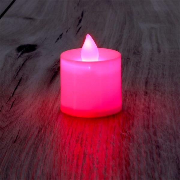 Gyertya alakú fix fényű LED-es piros fénydekoráció 4db/csomag - 1