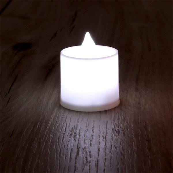 Gyertya alakú pulzáló fényű LED-es fehér fénydekoráció 4db/csomag - 1