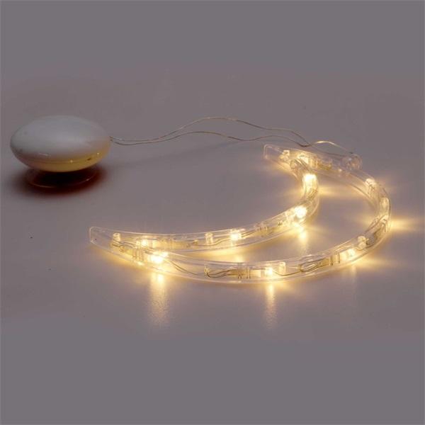 Hold alakú 15x19cm/meleg fehér LED-es tapadókorongos fénydekoráció - 1