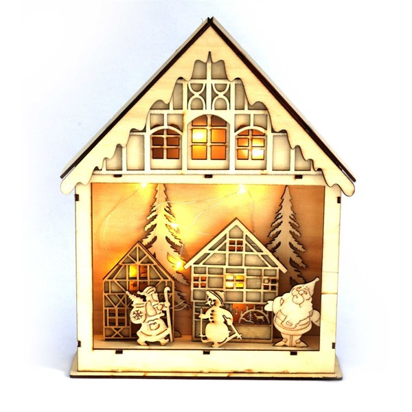 Karácsonyi ház alakú 23,5x29cm/meleg fehér LED-es fa fénydekoráció - 1