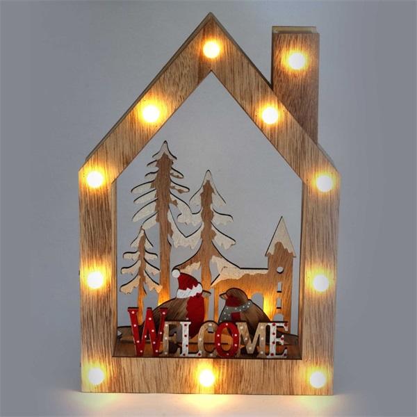 Karácsonyi ház alakú madarak mintás/20x30x5,5cm/meleg fehér LED-es fa fénydekoráció - 1