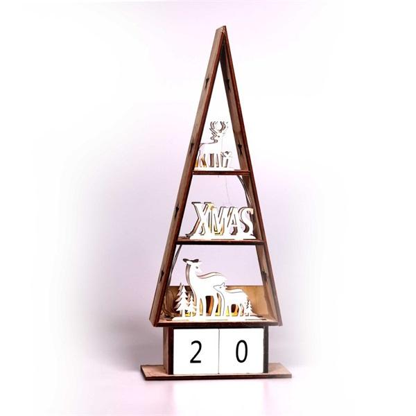 Karácsonyi ház alakú napi számlálós/16x38x6cm/meleg fehér LED-es fa fénydekoráció - 1