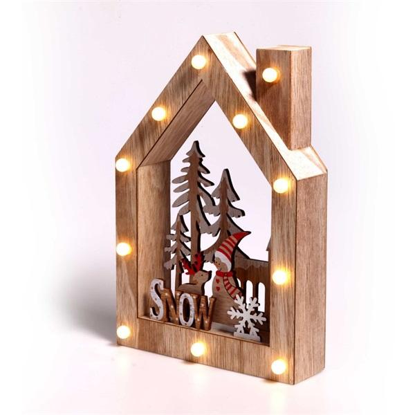 Karácsonyi ház alakú Télapó-rénszarvas mintás/20x30x5,5cm/meleg fehér LED-es fa fénydekoráció - 1