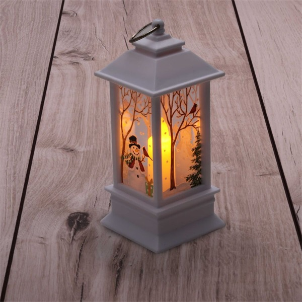 Karácsonyi hóember mintás 13x5,3x5,3cm LED-es fehér lámpás - 1