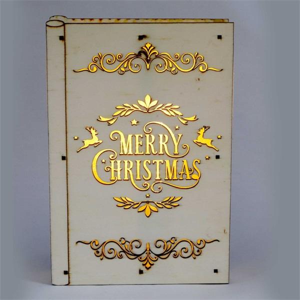 Karácsonyi könyv mintás 23x16x4,5cm/meleg fehér LED-es fa fénydekoráció - 1
