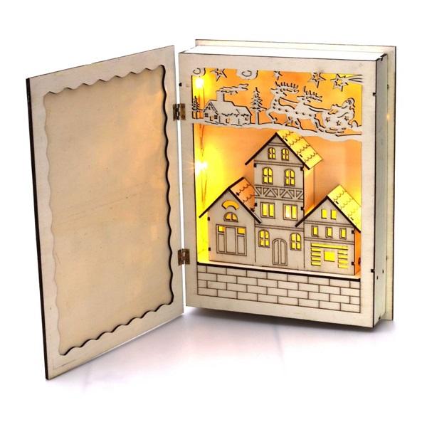 Karácsonyi könyv mintás 44,5x30cm/meleg fehér LED-es fa kinyitható fénydekoráció - 1