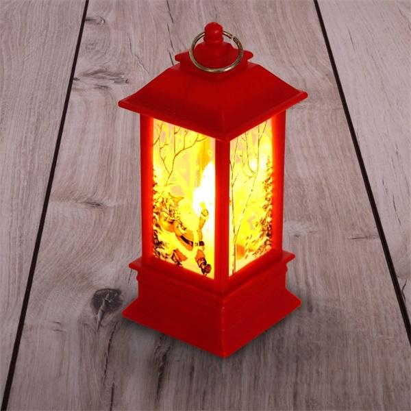 Karácsonyi Mikulás mintás 13x5,3x5,3cm LED-es piros lámpás - 1