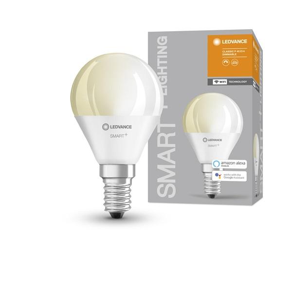 Ledvance Smart+ Wifi vezérlésű 5W 2700K E14 dimmelhető kisgömb LED fényforrás - 1