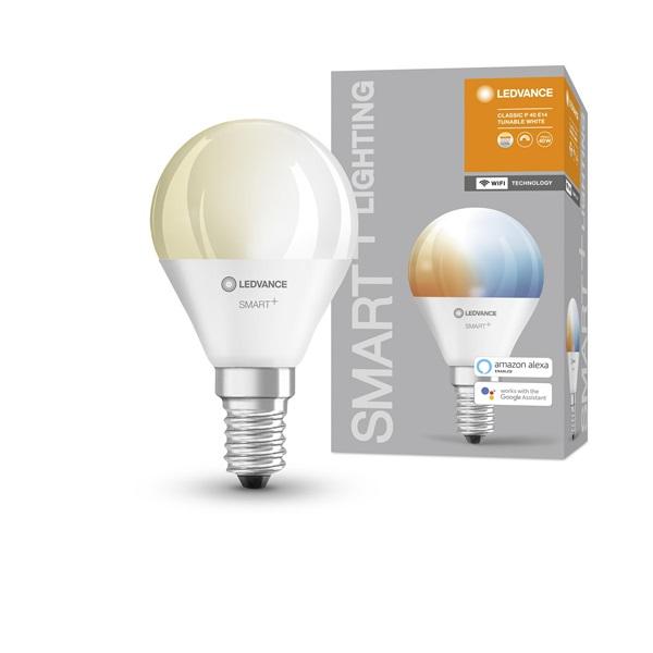 Ledvance Smart+ Wifi vezérlésű 5W állítható színhőmérsékletű E14 dimmelhető kisgömb LED fényforrás - 1