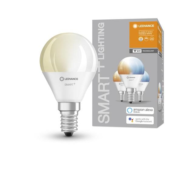 Ledvance Smart+ Wifi vezérlésű 5W állítható színhőmérsékletű E14 szabályozható kisgömb alakú LED fényforrás - 1