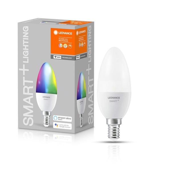 Ledvance Smart+ Wifi vezérlésű 5W RGBW E14 dimmelhető gyertya LED fényforrás - 1