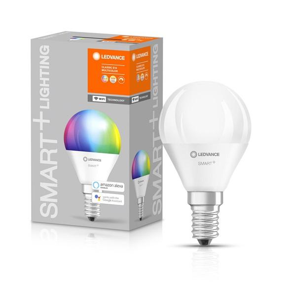 Ledvance Smart+ Wifi vezérlésű 5W RGBW E14 dimmelhető kisgömb LED fényforrás - 1