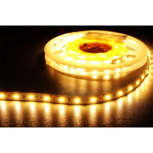 MW HQS-2835 5M 60LED/m 1260 lm/m 12W 24V meleg fehér LED szalag - 1