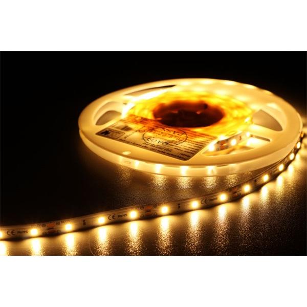 MW HQS-2835 5M 60LED/m 630 lm/m 6W 24V meleg fehér LED szalag - 1