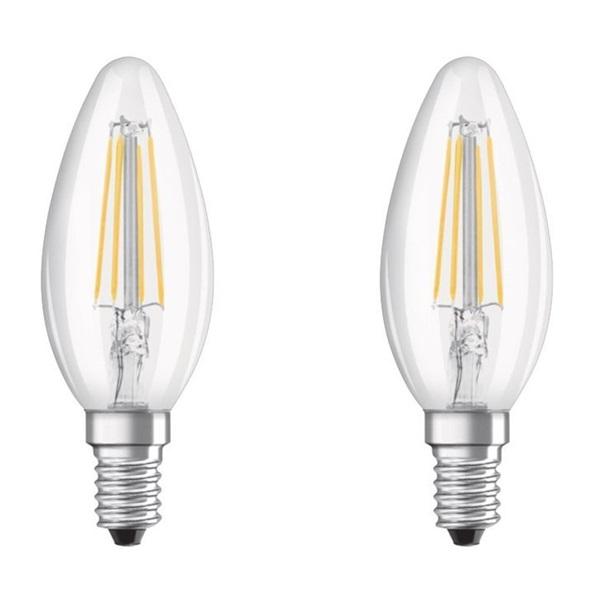Osram Base átlátszó üveg búra/4W/470lm/2700K/E14 LED gyertya izzó 2 db - 1