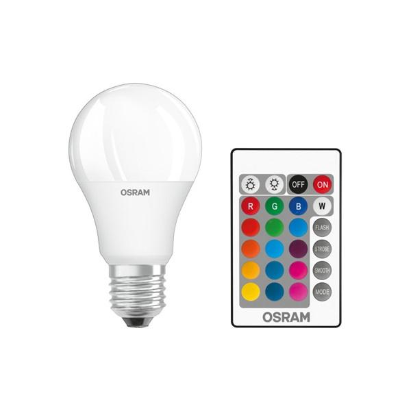 Osram Star+ RGBW/matt búra/9W/806lm/2700K/E27 távirányítható LED körte fényforrás - 1