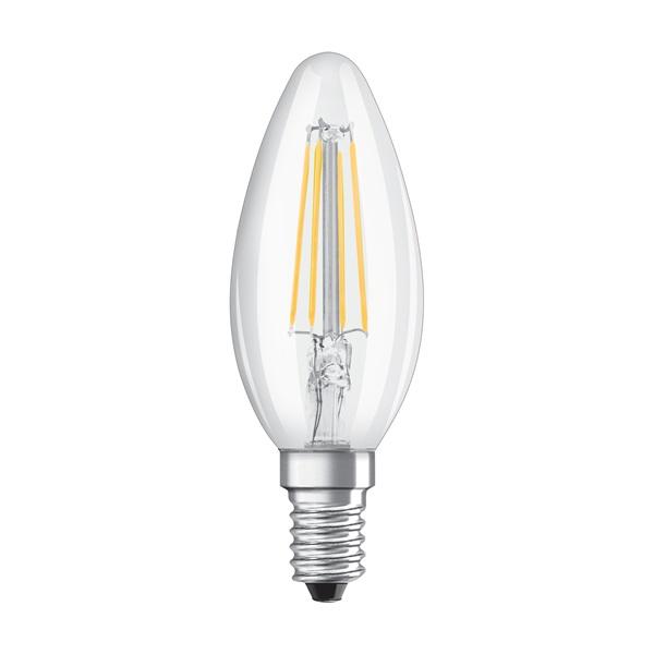 Osram Star átlátszó üveg búra/4W/470lm/2700K/E14/100mm LED gyertya izzó - 1
