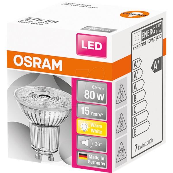 Osram Star PAR16 üveg ház/6,9W/575lm/2700K/GU10/230V/36fok/83lm/W LED spot izzó - 1