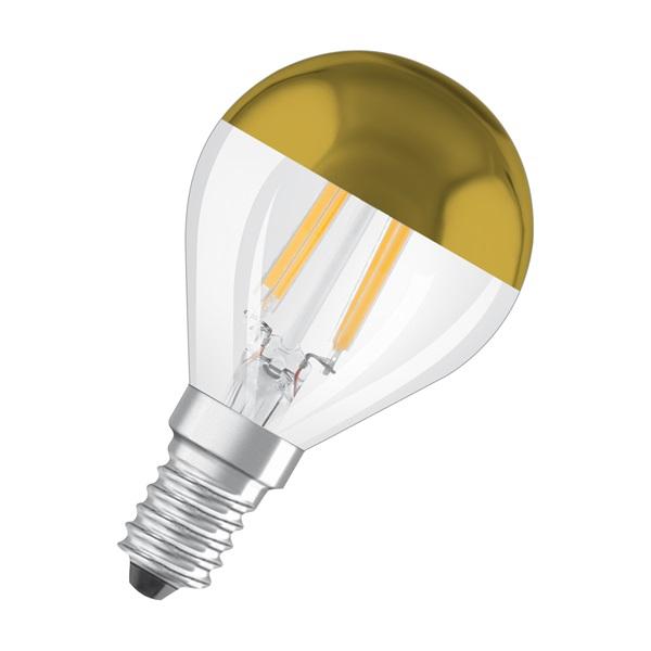 Osram Star üveg búra/4W/420lm/2700K/E14 arany tetőtükrös LED kisgömb izzó - 1