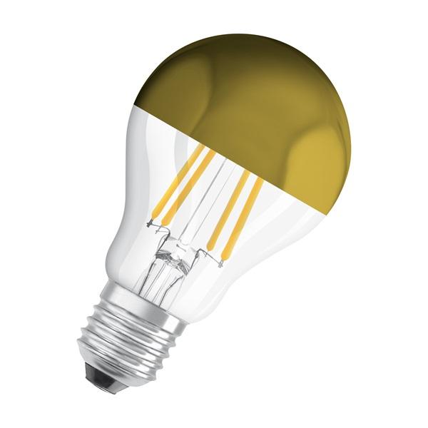 Osram Star üveg búra/6,5W/700lm/2700K/E27 arany tetőtükrös LED körte izzó - 1