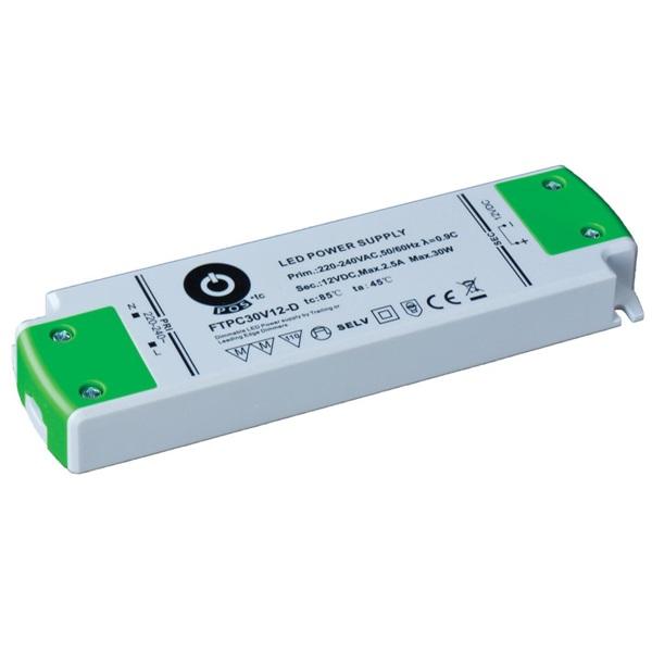 POS POWER FTPC30V12-D 12V/2.5A 30W IP20 szabályozható LED tápegység - 1